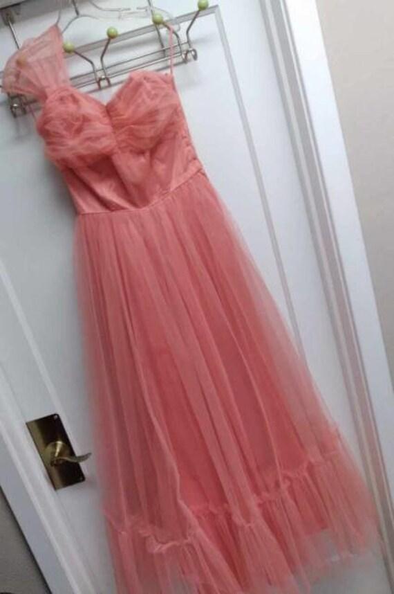 50's Salmon Tulle Dress Formal Prom-wear - image 1