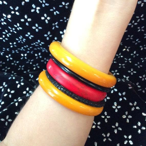 2 Marigold Bakelite Bracelet - image 1