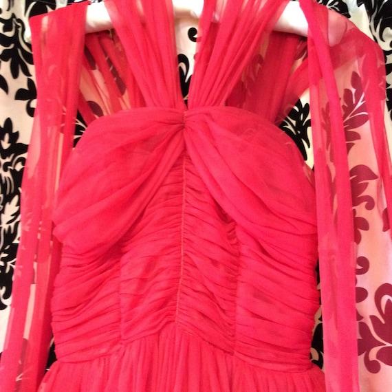 50's Cherry Red Chiffon Party Dress - image 9