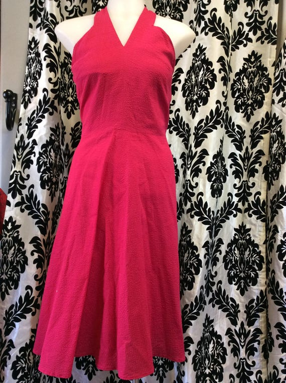 Adorable 1950's Fuschia Rockabilly Halter Dress