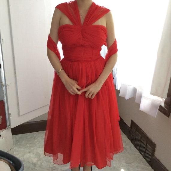 50's Cherry Red Chiffon Party Dress - image 1