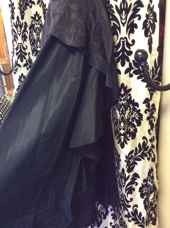 30's Black Satin Evening Gown/Prom Dress - image 4