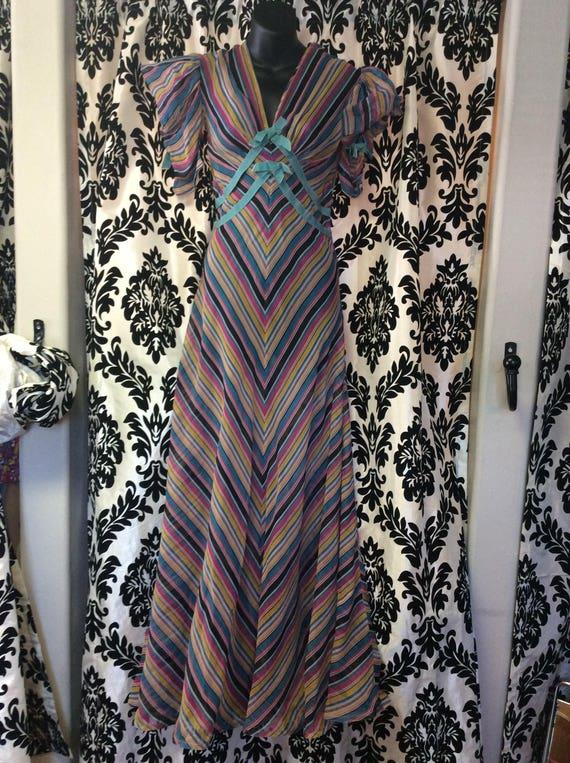 Rare 1930\'s Multicolor Sheer Chevron Gown | Etsy