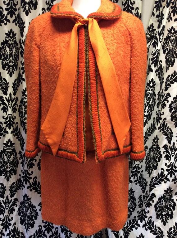 Unique Orange Lilli Ann 3 piece suit