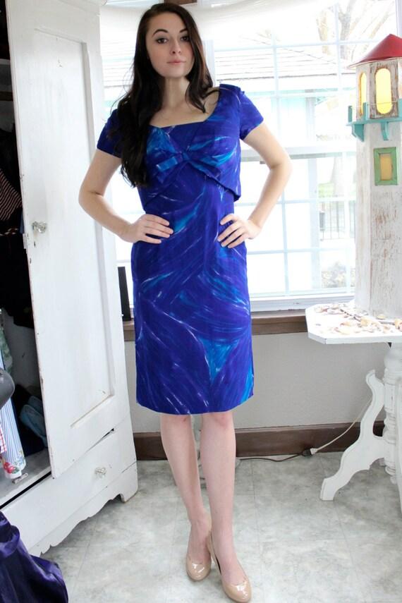 Blue 1950's Lois Leavitt Dress With Bow