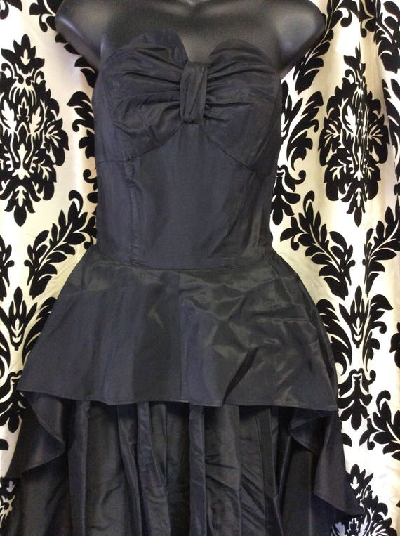 30's Black Satin Evening Gown/Prom Dress - image 2