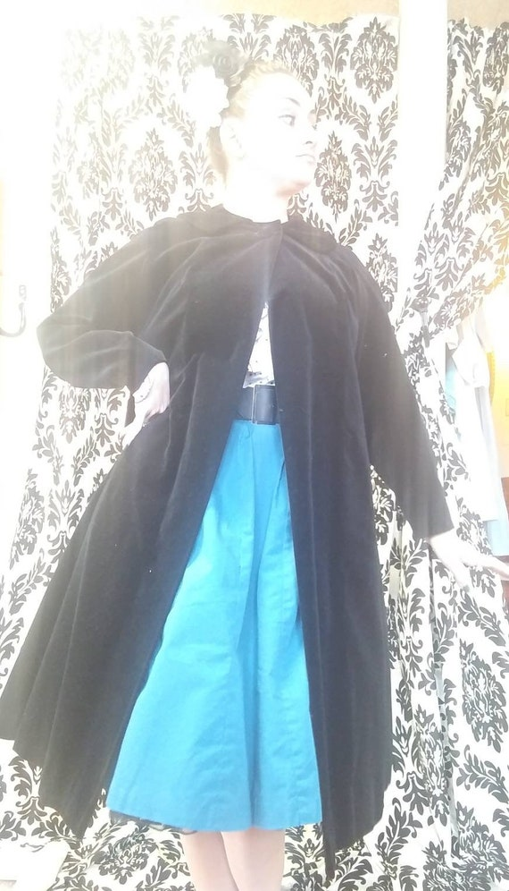 1940s Black Velvet Swing Coat