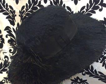 Victorian Beaver Fur Mourning Hat
