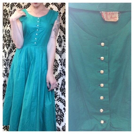 Jade green Vicky Vaughn 1950s house wife dress