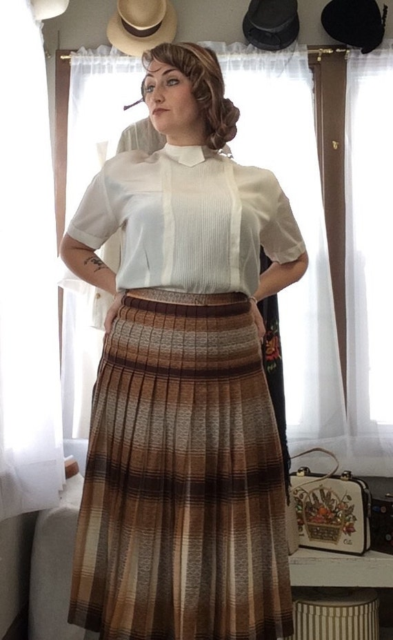 1940's Pleated Plaid Skirt
