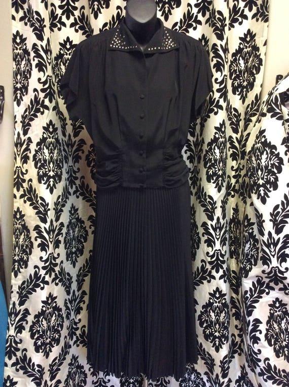 1940's Taffeta & Rhinestone Dress Suit