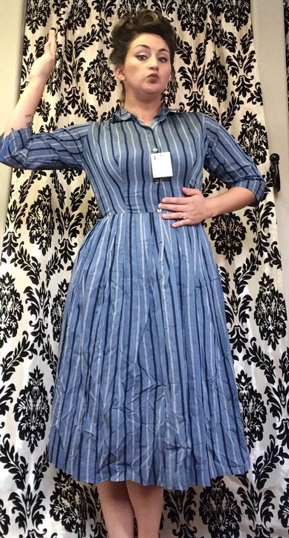 50's Deadstock Striped Shirtwaist Dress