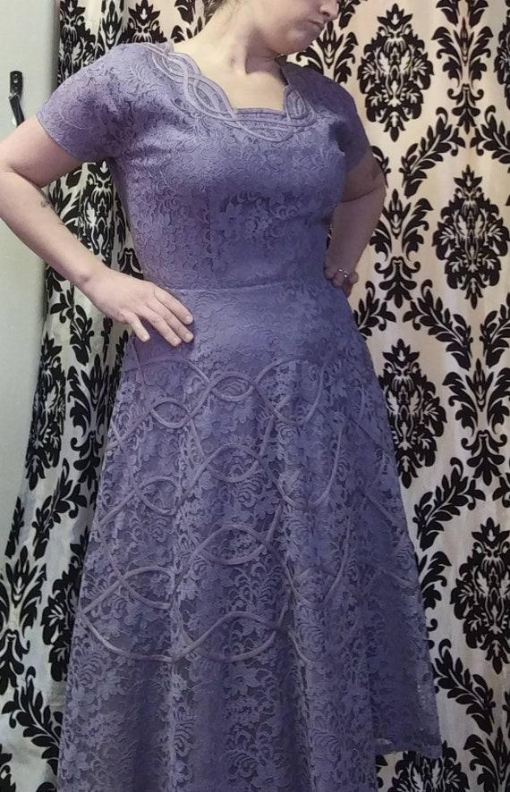 50s Lavender Lace Dress