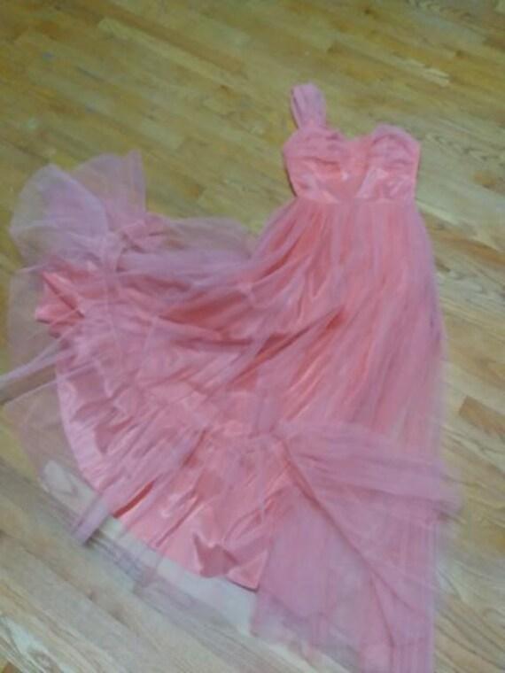 50's Salmon Tulle Dress Formal Prom-wear - image 3