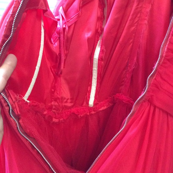 50's Cherry Red Chiffon Party Dress - image 10