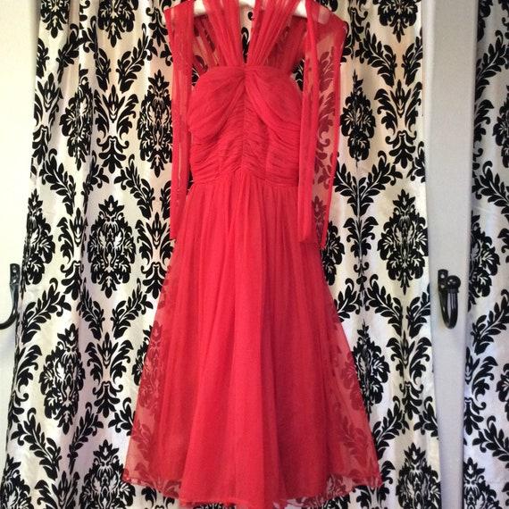 50's Cherry Red Chiffon Party Dress - image 8