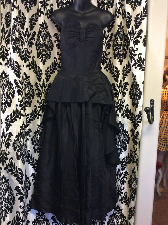 30's Black Satin Evening Gown/Prom Dress