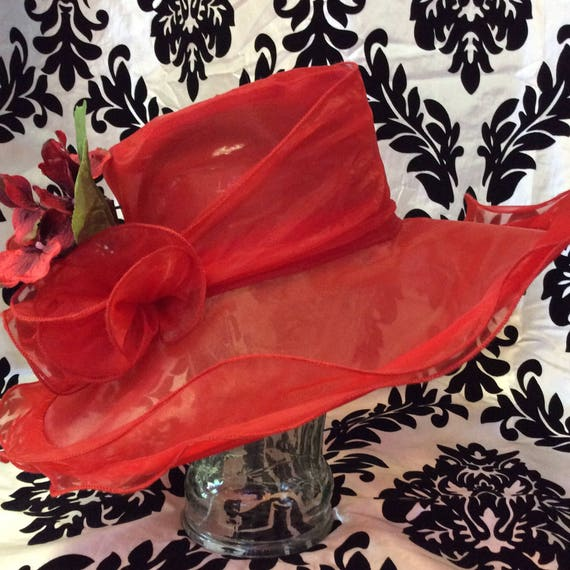 1960's Sheer Red Sunhat W/ Floral Details