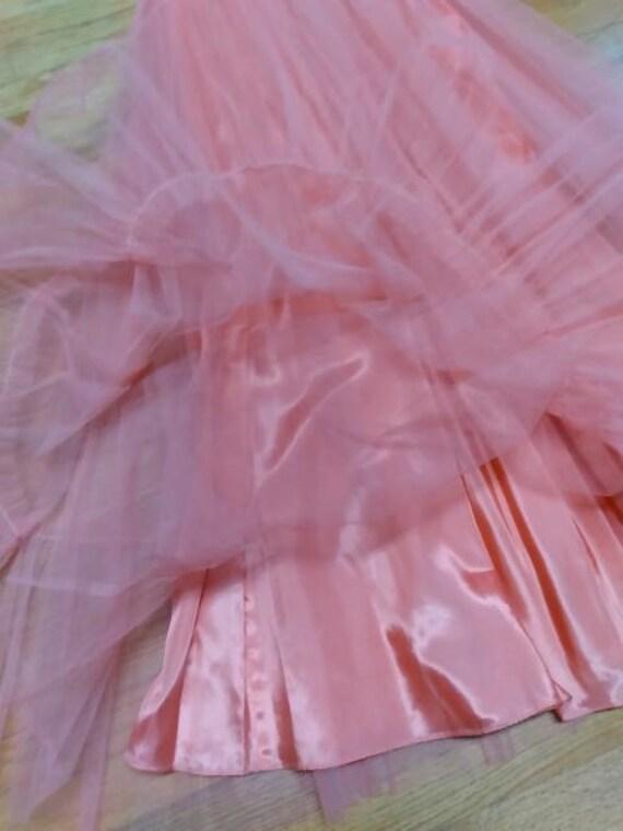 50's Salmon Tulle Dress Formal Prom-wear - image 7