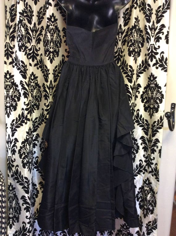 30's Black Satin Evening Gown/Prom Dress - image 3