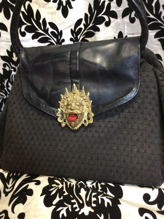 Stunning 1940's Black Purse with Gold Aztec Accent