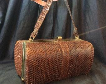 Vintage Snake Skin Barrel Purse