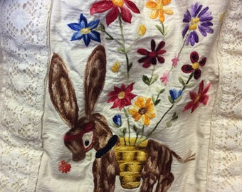 70's Embroidered Canvas Tote