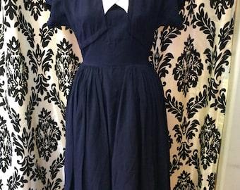 1940's Navy Chiffon Dress with Rhinestone accents