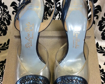 1940's Navy&Clear De Liso Debs Shoes with Rhinestones