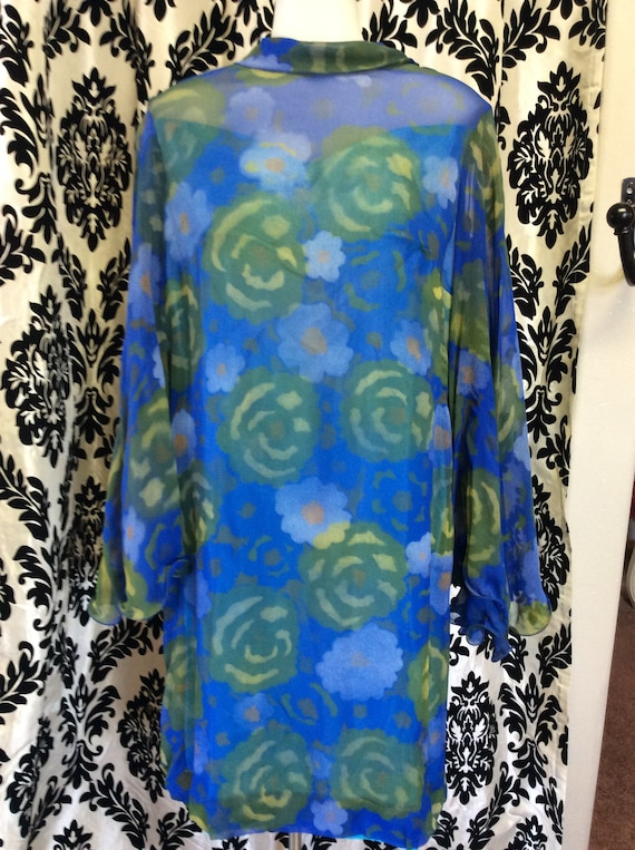 60's Floral Rayon Trapeze Dress with Batwing Sleev