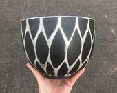 White on Black Snake Skin Ceramic Planter (Rounded Bowl) Succulent Planter, Cactus Planter, Herb Pot, Flower Pot