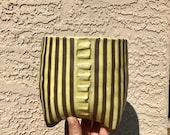 Yellow on Red Clay Lines Ceramic Planter (Small Tall), Succulent Planter, Cactus Planter, Herb Pot, Flower Pot