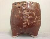 Shino Tire Tracks Ceramic Planter (Medium Tall), Succulent Planter, Cactus Planter, Herb Pot, Flower Pot