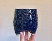 Cobalt Dragon Textured Ceramic Planter (Extra Small Tall), Succulent Planter, Cactus Planter, Herb Pot, Flower Pot
