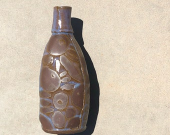 Hyacinth on Dark Brown Doodles - Ceramic Bottle, Vase