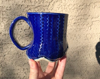 Cobalt Textured Ceramic Mug - Handmade Mug, Coffee Mug, Tea Mug, Pottery Mug, Handmade Ceramic Mug