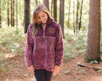 Monogram Sherpa Pullover | Monogrammed Sherpa Quarter Zip | Monogram Pullover | Christmas Gift for Her | Monogram Sherpa Fleece Jacket