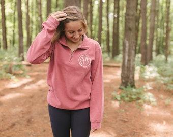 Monogram Comfort Colors Quarter Zip | Monogrammed Fleece Pullover | Monogram Half Zip | Personalized Gift for Her | Monogram Sweatshirt