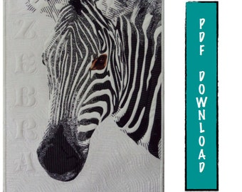 Zebra art quilt pattern by Melissa Burdon