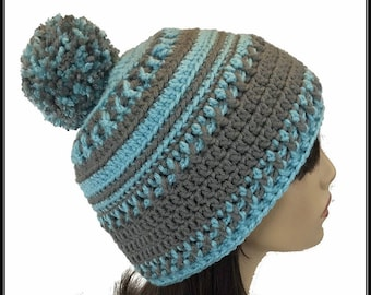 7ae544bc353 Crocheted Designer Winter Beanie hat with pom pom!!! Ready to Ship!