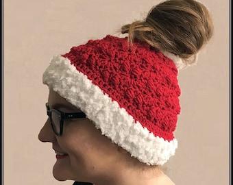 Crocheted Santa Messy Bun / Ponytail Hat PDF Pattern Download