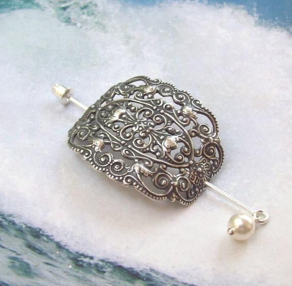 Handmade LEAF 925 sterling silver HAIR JEWELRY PIN STICK PICK fine FILIGREE new