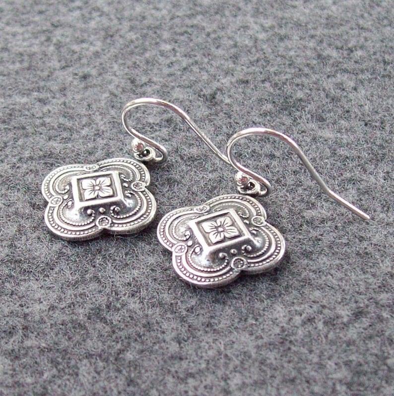 four leaf clover sterling silver fashion Clover Earrings Silver Earrings 925 bridal Silver Celtic Earrings