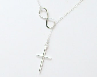 Cross and Infinity Necklace, Infinity Lariat Necklace, Cross Necklace, sterling silver, spring, bridal jewelry, weddings, infinite love