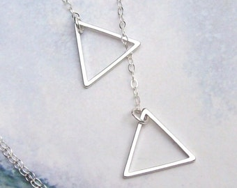 Triangle Necklace, Triangle Lariat Necklace, sterling silver, rhodium, summer, matte, simple, minimal, geometric