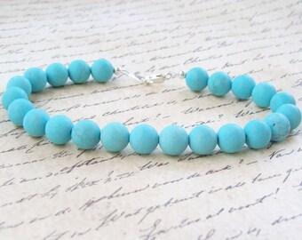 Matte Turquoise Bracelet, gemstone bracelet, blue bracelet, sterling silver, round, 8mm, gems, beaded, stacking bracelet