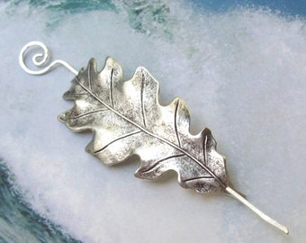 Silver Leaf Shawl Pin, Oak Leaf Scarf Pin, oak leaf shawl pin, silver shawl pin, hair slide, oxidized, fall fashion, silver filled