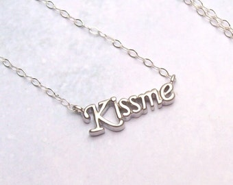 SALE Kiss Me Necklace, Sterling Silver Necklace, romance, rhodium, kiss necklace, spring fashion, matte, simple, minimal, love