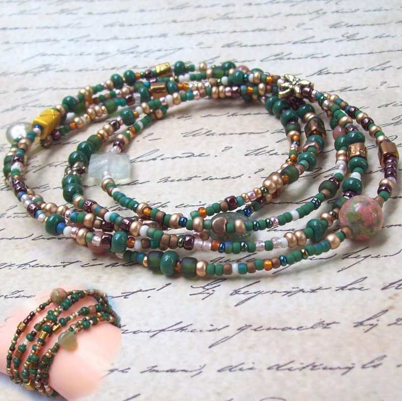 Deep In Heart Of Emerald Forest >> Sale Forest Green Wrap Bracelet Gold Beaded Wrap Jade Wrap Etsy
