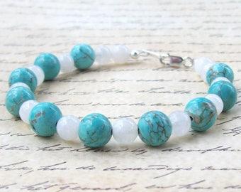 Turquoise Bracelet, gemstone bracelet, moonstone bracelet, sterling silver, blue, white, gems, beaded, stacking bracelet
